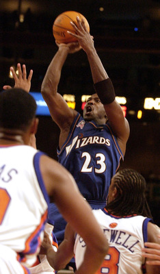 30 Oct 2001:  Michael Jordan #23 of the Washington Wizards shoots during their game against New York Knicks at Madison Square Garden in New York, NY.  The Knicks won 93-91.  Mandatory Credit: Ezra Shaw/Getty Images Digital Image NOTE TO USER: User express