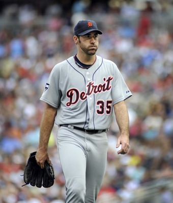 MINNEAPOLIS, MN - AUGUST 27:  Justin Verlander #35 pitcher for the Detroit Tigers walks to the dugout during their game against the Minnesota Twins in the sixth inning on August 27, 2011 at Target Field in Minneapolis, Minnesota. Detroit won 6-4 and Vernl