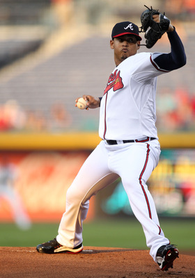 ATLANTA, GA - AUGUST 30:  PItcher Jair Jurrjens #49 of the Atlanta Braves throws a pitch during the game against the Washington Nationals during the game at Turner Field on August 30, 2011 in Atlanta, Georgia.  (Photo by Mike Zarrilli/Getty Images)