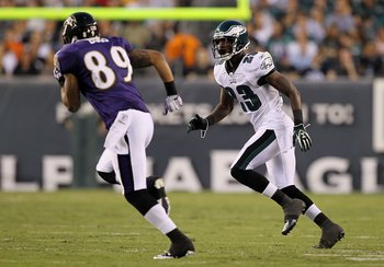 PHILADELPHIA, PA - AUGUST 11:  Dominique Rodgers-Cromartie #23 of the Philadelphia Eagles defends Tandon Doss #89 of the Baltimore Ravens  during their pre season game on August 11, 2011 at Lincoln Financial Field in Philadelphia, Pennsylvania.  (Photo by