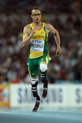 DAEGU, SOUTH KOREA - AUGUST 29:  Oscar Pistorius of South Africa competes in the men's 400 metres semi finals during day three of the 13th IAAF World Athletics Championships at the Daegu Stadium on August 29, 2011 in Daegu, South Korea.  (Photo by Ian Wal