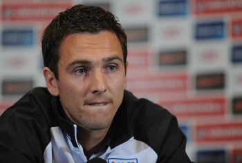 LONDON, ENGLAND - AUGUST 30:  Stewart Downing speaks to the media during the England press conference ahead of their UEFA EURO 2012 Group G qualifier against Bulgaria at London Colney on August 30, 2011 in London, England.  (Photo by Michael Regan/Getty I