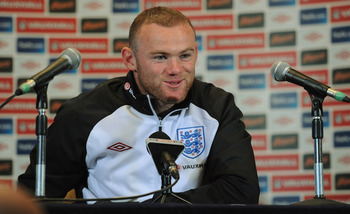 LONDON, ENGLAND - AUGUST 30:  Wayne Rooney speaks to the media during the England press conference ahead of their UEFA EURO 2012 Group G qualifier against Bulgaria at London Colney on August 30, 2011 in London, England.  (Photo by Michael Regan/Getty Imag