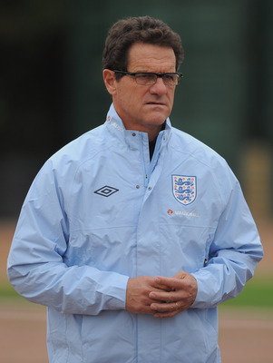 LONDON, ENGLAND - AUGUST 30:  England manager Fabio Capello looks on during the England training session ahead of their UEFA EURO 2012 Group G qualifier against Bulgaria at London Colney on August 30, 2011 in London, England.  (Photo by Michael Regan/Gett