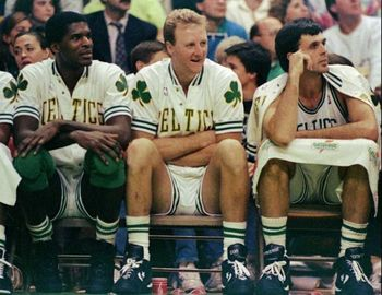 Robert Parish, Larry Bird, and Kevin McHale