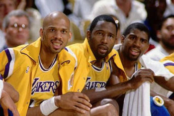 Kareem Abdul-Jabbar, James Worthy, Magic Johnson