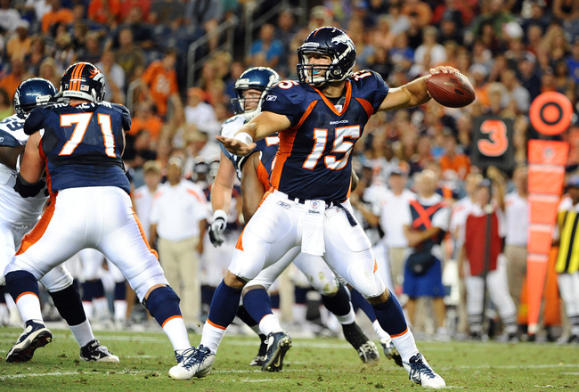 DENVER, CO - AUGUST 27: Tim Tebow #15 of the Denver Broncos throws the ball during the pre season game against the Seattle Seahawks at Sports Authority Field at Mile High on August 27, 2011 in Denver, Colorado.  (Photo by Garrett W. Ellwood/Getty Images)