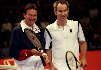 2 Dec 1999:  Jimmy Connors and John McEnroe of the USA during the ATP Seniors Honda Challenge held at the Royal Albert Hall in London, England.  \ Mandatory Credit: Tom Shaw /Allsport