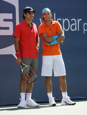 NEW YORK - AUGUST 23:  Tennis stars Roger Federer (L) and Rafael Nadal attend the 2008 Arthur Ashe Kids Day at the USTA Billie Jean King National Tennis Center on August 23, 2008 in the Flushing neighborhood of the Queens borough of New York City.  (Photo