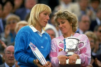 May-Jun 1986:  Martina Navratilova (left) of the USA chats with Chris Evert also of the USA as they hold their respective trophies after the Womens Singles final during the French Open at Roland Garros in Paris. \ Mandatory Credit: Allsport UK /Allsport