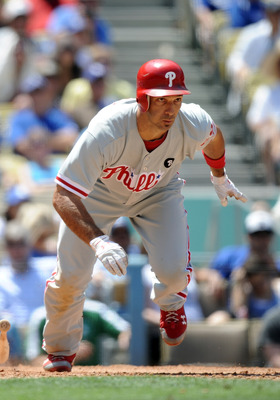 LOS ANGELES, CA - AUGUST 10:  Raul Ibanez #29 of the Philadelphia Phillies heads to first base against the Los Angeles Dodgers at Dodger Stadium on August 10, 2011 in Los Angeles, California.  (Photo by Harry How/Getty Images)