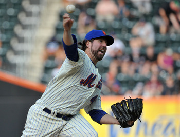 NEW YORK, NY - AUGUST 29: R.A. Dickey #43 of the New York Mets throws a pitch in the top of the fourth inning against the Florida Marlins at Citi Field on August 29, 2011 in the Flushing neighborhood of the Queens borough of New York City. (Photo by Chris