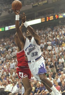 11 Jun 1997: Karl Malone of the Utah Jazz leaps to the basket during the Jazz 90-88 loss to the Chicago Bulls in Game 5 of the NBA Finals at the Delta Center in Salt Lake City, Utah.