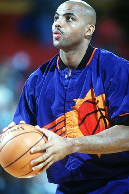 1993:  PHOENIX FORWARD CHARLES BARKLEY WARMS UP BEFORE THE SUNS GAME AGAINST THE DENVER NUGGETS. Mandatory Credit: Tim Defrisco/ALLSPORT