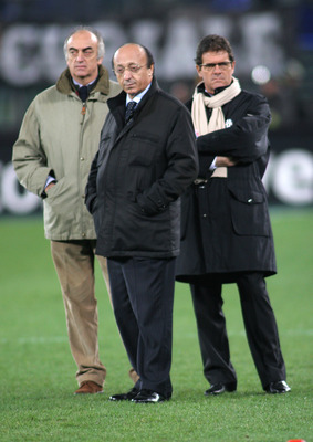 TURIN, ITALY - DECEMBER 18: Juventus coach Fabio Capello (L) general Manager Luciano Moggi and CEO Antonio Giraudo are seen on the ground before the Juventus Vs Milan match at Stadio delle Alpi in Turin, Italy. The match ended in a 0-0 draw.  (Photo by Gi