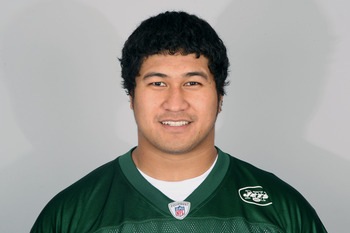FLORHAM PARK, NJ - CIRCA 2010: In this handout image provided by the NFL, Ropati Pitoitua of the New York Jets poses for his 2010 NFL headshot circa 2010 in Florham Park, New Jersey. (Photo by NFL via Getty Images)