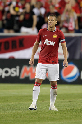 FOXBORO, MA - JULY 13:  Nemanja Vidic #15 of Manchester United competes during a friendly match against the New England Revolution at Gillette Stadium on July 13, 2011 in Foxboro, Massachusetts. (Photo by Jim Rogash/Getty Images)