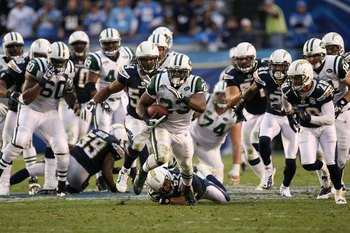 SAN DIEGO - JANUARY 17:  Running back Shonn Greene #23 of the New York Jets runs for a 53-yard touchdown in the fourth quarter against the San Diego Chargers in the AFC Divisional Playoff Game at Qualcomm Stadium on January 17, 2010 in San Diego, Californ