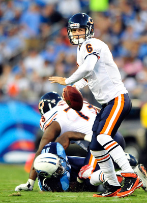 NASHVILLE, TN - AUGUST 27:  Quarterback Jay Cutler #6 of the Chicago Bears drops back to pass against the Tennessee Titans during a preseason game at LP Field on August 27, 2011 in Nashville, Tennessee. Tenessee defeated Chicago, 14-13. (Photo by Grant Ha