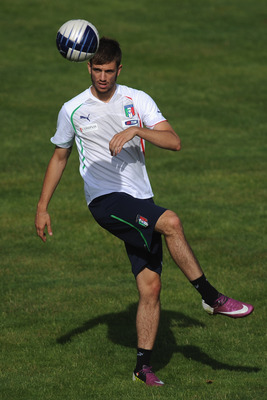 TOULON, FRANCE - JUNE 09:  Davide Santon of Italy in action during an Italy U21 training session at Stade Paul Saulnier  on June 9, 2011 in Saint Cyr Sur Mer Toulon, France.  (Photo by Valerio Pennicino/Getty Images)