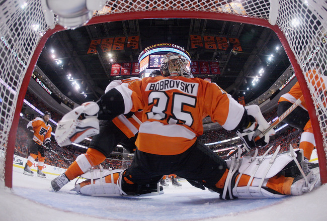 PHILADELPHIA, PA - APRIL 30: Sergei Bobrovsky #35 of the Philadelphia Flyers defends the net against the Boston Bruins in Game One of the Eastern Conference Semifinals during the 2011 NHL Stanley Cup Playoffs at the Wells Fargo Center on April 30, 2011 in