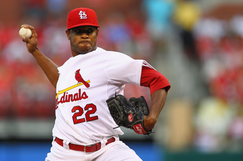 ST. LOUIS, MO - AUGUST 25: Starter Edwin Jackson #22 of the St. Louis Cardinals pitches against the Pittsburgh Pirates at Busch Stadium on August 25, 2011 in St. Louis, Missouri.  (Photo by Dilip Vishwanat/Getty Images)