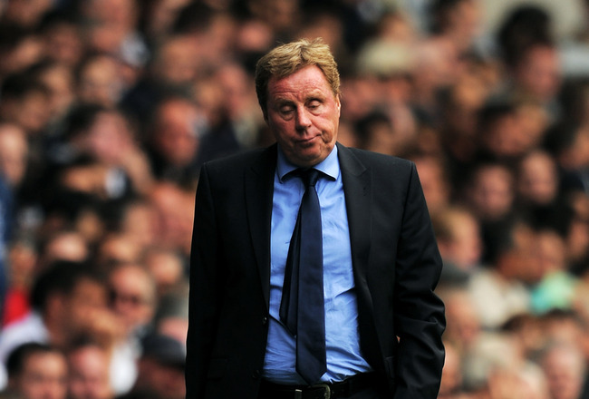 LONDON, ENGLAND - AUGUST 28:  Harry Redknapp manager of Tottenham looks on dejected during the Barclays Premier League match between Tottenham Hotspur and Manchester City at White Hart Lane on August 28, 2011 in London, England.  (Photo by Michael Regan/G