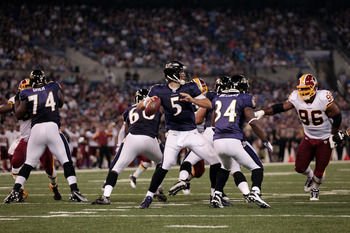 BALTIMORE, MD - AUGUST 25: Quarterback Joe Flacco #5 of the Baltimore Ravens drops back to pass against the Washington Redskins during a preseaon game at M&T Bank Stadium on August 25, 2011 in Baltimore, Maryland.  (Photo by Rob Carr/Getty Images)