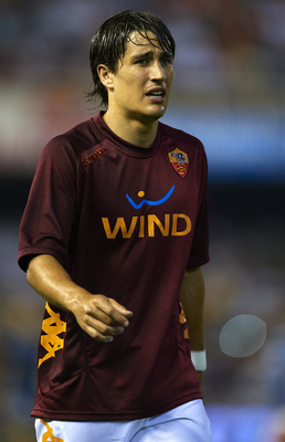 VALENCIA, SPAIN - AUGUST 12:  Bojan Krkic of Valencia reacts before the start of the Orange Trophy match between Valencia and Roma at Estadio Mestalla on August 12, 2011 in Valencia, Spain.  (Photo by Manuel Queimadelos Alonso/Getty Images)