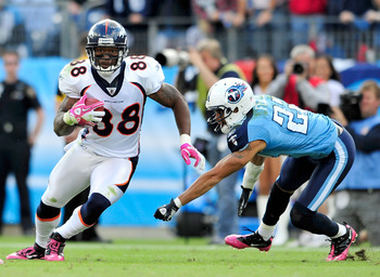 NASHVILLE, TN - OCTOBER 03:  Demaryius Thomas #88 of the Denver Broncos breaks away from Vincent Fuller #22 of the Tennessee Titans  at LP Field on October 3, 2010 in Nashville, Tennessee. Denver won 26-20.  (Photo by Grant Halverson/Getty Images)