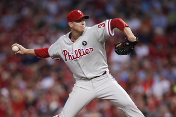 CINCINNATI, OH - AUGUST 30: Roy Halladay #34 of the Philadelphia Phillies pitches against the Cincinnati Reds at Great American Ball Park on August 30, 2011 in Cincinnati, Ohio. (Photo by Joe Robbins/Getty Images)