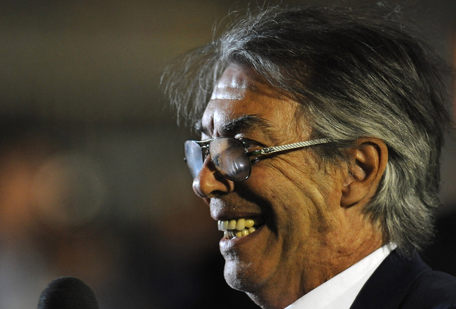 MONZA, ITALY - AUGUST 27:  FC Internazionale Milano President Massimo Moratti looks on prior to the pre season friendly match between FC Internazionale Milano and AC Chievo Verona at Stadio Brianteo on August 27, 2011 in Monza, Italy.  (Photo by Valerio P