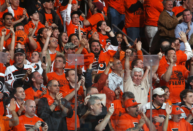 PHILADELPHIA, PA - APRIL 26:  Philadelphia Flyers fans celebrate during the second period of their game against the Buffalo Sabres in Game Seven of the Eastern Conference Quarterfinals during the 2011 NHL Stanley Cup Playoffs at Wells Fargo Center on Apri