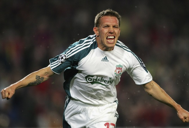BARCELONA, SPAIN - FEBRUARY 21:  Craig Bellamy of Liverpool celebrates after scoring his goal during the UEFA Champions League round of 16 first leg match between Barcelona and Liverpool at the Nou Camp Stadium on February 21, 2007 in Barcelona, Spain.  (