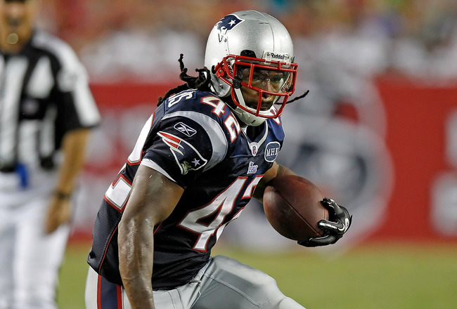 TAMPA, FL - AUGUST 18:  Running back BenJarvus Green-Ellis #42 of the New England Patriots runs the ball against the Tampa Bay Buccaneers during a preseason game at Raymond James Stadium on August 18, 2011 in Tampa, Florida.  (Photo by J. Meric/Getty Imag