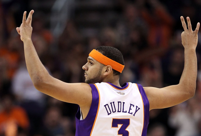 PHOENIX, AZ - APRIL 13:  Jared Dudley #3 of the Phoenix Suns reacts after hitting a three point shot during the NBA game against the San Antonio Spurs at US Airways Center on April 13, 2011 in Phoenix, Arizona.  NOTE TO USER: User expressly acknowledges a