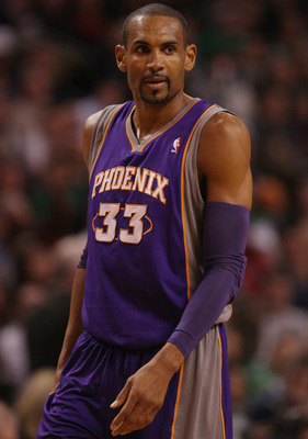 BOSTON, MA - MARCH 02:  Grant Hill #33 of the Phoenix Suns looks on in the first half against the Boston Celtics on March 2, 2011 at the TD Garden in Boston, Massachusetts.  NOTE TO USER: User expressly acknowledges and agrees that, by downloading and/or