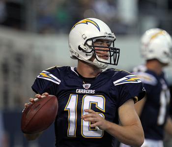 ARLINGTON, TX - AUGUST 21:  Scott Tolzien #16 of the San Diego Chargers at Cowboys Stadium on August 21, 2011 in Arlington, Texas.  (Photo by Ronald Martinez/Getty Images)