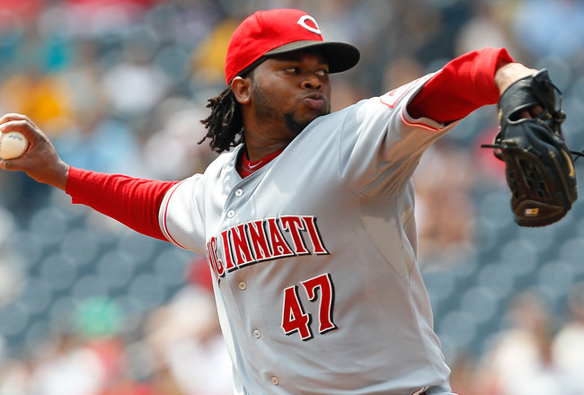 PITTSBURGH - JULY 20:  Johnny Cueto #47 of the Cincinnati Reds pitches against the Pittsburgh Pirates  during the game on July 20, 2011 at PNC Park in Pittsburgh, Pennsylvania.  (Photo by Jared Wickerham/Getty Images)