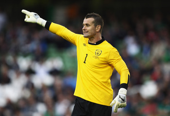 DUBLIN, IRELAND - AUGUST 10:  Republic of Ireland goal keeper Shay Given instructs his team during the International Friendly between the Republic of Ireland and Croatia at the Aviva Stadium on August 10, 2011 in Dublin, Ireland.  (Photo by Bryn Lennon/Ge