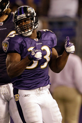 BALTIMORE, MD - AUGUST 19: Jalen Parmele #33 of the Baltimore Ravens celebrates after scoring against the Kansas City Chiefs during a preseason game at M&amp;T Bank Stadium on August 19, 2011 in Baltimore, Maryland. The Ravens won 31-13. (Photo by Rob Carr/Ge