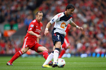 LIVERPOOL, ENGLAND - AUGUST 27:  Chris Eagles of Bolton Wanderers with the ball during the Barclays Premier League match between Liverpool and Bolton Wanderers at Anfield on August 27, 2011 in Liverpool, England.  (Photo by Clive Brunskill/Getty Images)