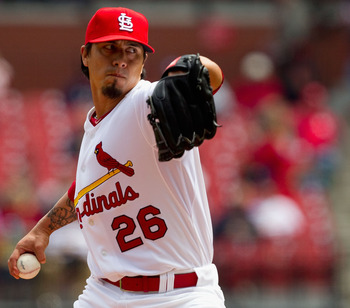 ST. LOUIS, MO - APRIL 21: Starter Kyle Lohse #26 of the St. Louis Cardinals pitches against the Washington Nationals at Busch Stadium on April 21, 2011 in St. Louis, Missouri.  (Photo by Dilip Vishwanat/Getty Images)