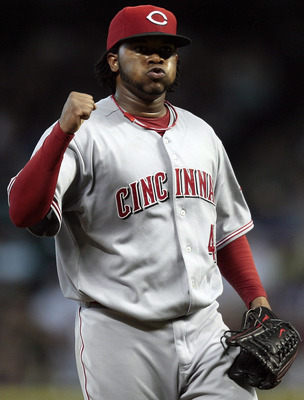 HOUSTON - JULY 24:  Pitcher Johnny Cueto #47 of the Cincinnati Reds pumps his fist after retiring the Houston Astros in the eighth Inning at Minute Maid Park on July 24, 2010 in Houston, Texas.  (Photo by Bob Levey/Getty Images)