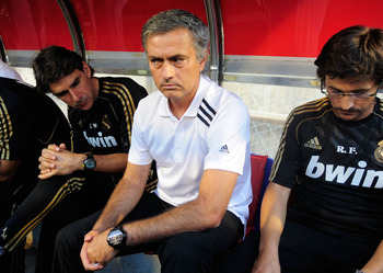 ZARAGOZA, SPAIN - AUGUST 28:   Head coach Jose Mourinho of Real Madrid looks on before the start of the La Liga match between Real Zaragoza and Real Madrid at estadio La Romareda on August 28, 2011 in Zaragoza, Spain.  (Photo by Denis Doyle/Getty Images)