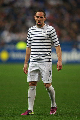 PARIS, FRANCE - MARCH 29:  Franck Ribery of France looks on during the International friendly match between France and Croatia at Stade de France on March 29, 2011 in Paris, France.  (Photo by Dean Mouhtaropoulos/Getty Images)