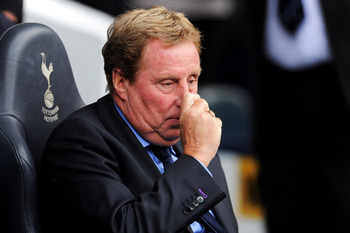 LONDON, ENGLAND - AUGUST 28:  Harry Redknapp manager of Tottenham looks on ahead of the Barclays Premier League match between Tottenham Hotspur and Manchester City at White Hart Lane on August 28, 2011 in London, England.  (Photo by Michael Regan/Getty Im