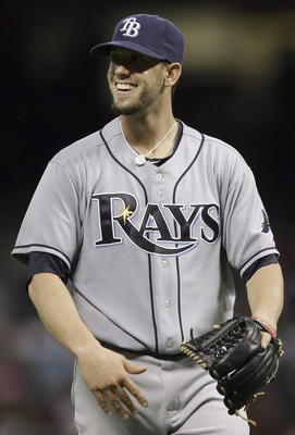 HOUSTON - JUNE 24:  Pitcher James Shields #33 of the Tampa Bay Rays is all smiles after recording the final out and his sixth complete game of the season as they defeated the Houston Astros 5-1 at Minute Maid Park on June 24, 2011 in Houston, Texas.  (Pho