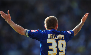 CARDIFF, WALES - MAY 02:  Cardiff player Craig Bellamy reacts during the npower Championship game between Cardiff City and Middlesbrough at Cardiff City Stadium on May 2, 2011 in Cardiff, Wales.  (Photo by Stu Forster/Getty Images)