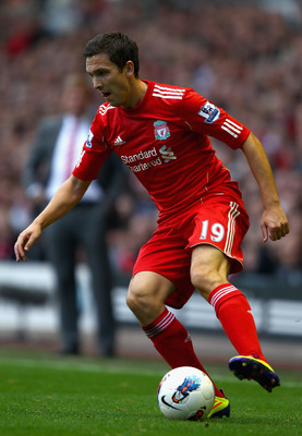 LIVERPOOL, ENGLAND - AUGUST 27:  Stewart Downing of Liverpool with the ball during the Barclays Premier League match between Liverpool and Bolton Wanderers at Anfield on August 27, 2011 in Liverpool, England.  (Photo by Clive Brunskill/Getty Images)